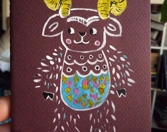 Mexican  ram  art  journal, handpainted illustrated cover  by  Wassupbrothers, unique art for every day , notebook, , art book