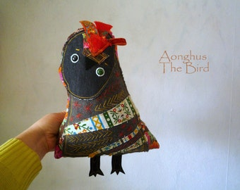 Aonghus bird, owl  ,  soft art  creature toy friend by  Wassupbrothers, folk colorful textile floered sculpture, unique owl, doll, red,