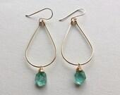 Apatite Hoop Earrings, Teal Gemstone Hoops, Boho Gemstone Hoop Earrings, Apatite Dangle, Bohemian Earrings, Ocean Blue