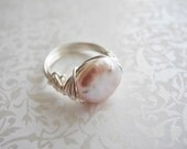 Wire Wrapped Cultured Freshwater Coin Pearl Ring, Handmade to Order