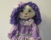 Raggedy rag cloth doll with purple hair purple dress 20 inch doll