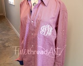 Monogram Gingham Mini Check Button Down Oxford Shirt Unisex Plus Size Available 2X 3X