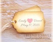 WEDDING LOVE Tags ... Personalized with Names, Pink Heart, Vintage Shabby Look, Bride and Groom, Anniversary