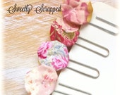 Vintage YoYo and Flower Paper Clips .... Rose Pink, Yellow, Gold, Floral, Planner, Goodies, Scrapbooking