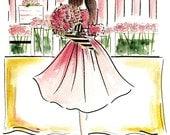 Girls room decor, Home decor ,Wall Art, Fashion illustration print, Fashion print, Fashion Art , Girls Art