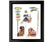 Fashion illustration print, Art Print, Wall Art,  Fashion print, Fashion Art , Girls Art, Travel print, Girls room print