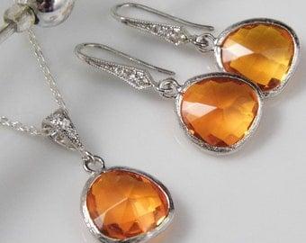 Orange Bridesmaid Jewelry | Orange Wedding Jewelry | Orange Bridal Jewelry | Orange Wedding | Orange Bridesmaid Necklace | Orange Bridesmaid