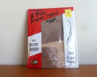 70s Seamless Mesh Stockings - Brown Mistone - Unworn Nylon - Kmart Package - Vintage 1970s - Size 9 1/2