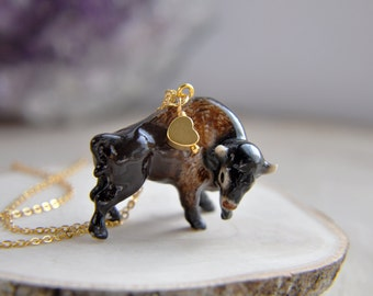 Buffalo Necklace, Bison Necklace, Animal Necklace, Nature Necklace, Wild Buffalo Necklace, Gypsy Necklace, Boho necklace, Bohemian Necklace