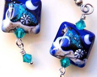 Cobalt Blue Dichroic Lampwork Earrings, Silver Earrings, Aqua Earrings, Teal Earrings, Crystal Earrings