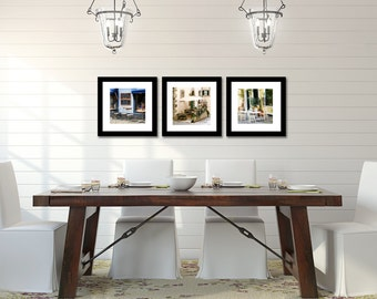 Kitchen Wall Art - Cafe Photography - Kitchen Decor - European Cafe Print Set - Square Photos - Colorful Art - Dining Room Wall Decor