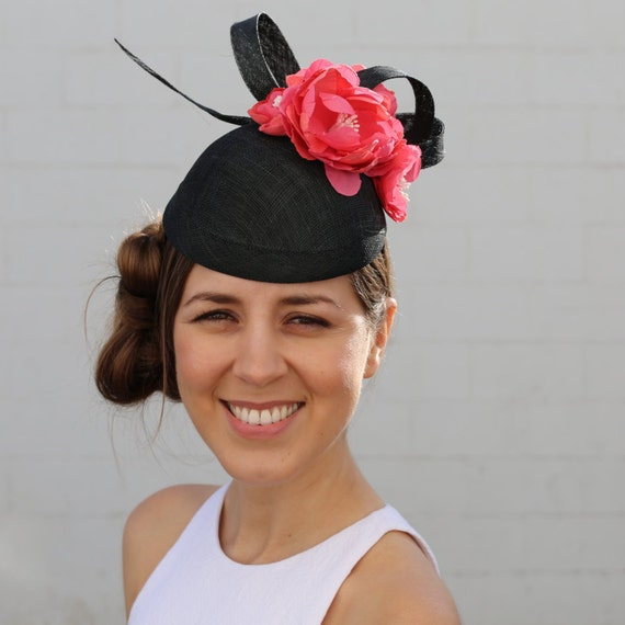 Black and pink fascinator, black and red cocktail hat, flower headpiece, couture cocktail hat, fashion hat
