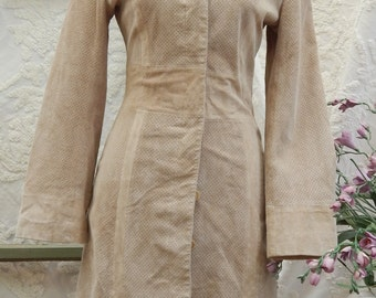Chic Vintage Laser Cut Dot SUEDE-- B Lucid --Trench Coat ---Fitted --SMALL --Fits Xs Best --Fully Lined