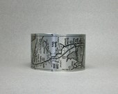 San Francisco to Big Sur California Road Map Pacific Highway Cuff Bracelet Unique Gift for Men or Women