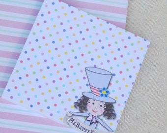 MsBitty Post-It Notes - Sticky Notes Dottie with Pencil