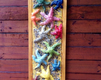 Shabby chic beach Colorful Starfish 3D painting Seashells sealed in clear finish 5ft. nautical wall art reclaimed wood original centerpiece
