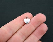 16 Heart Charms Antique Silver Tone 2 Sided - SC4049