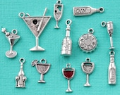 Cocktails Deluxe Charm Collection Antique Silver Tone 12 Different Charms - COL307