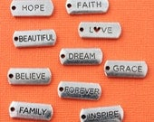 Word Charm Collection Antique Silver Tone 10 Different Tag Charms - COL312
