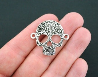 3 Skull Connector Charms Antique Silver Tone Abstract Flower Design- SC2493