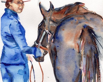 Beautiful, 7 by 8 inch original watercolor of black  horse and cowgirl in cowboy hat