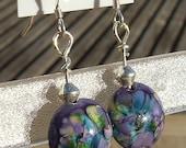 Blackcurrant Fizz - lampwork bead earrings
