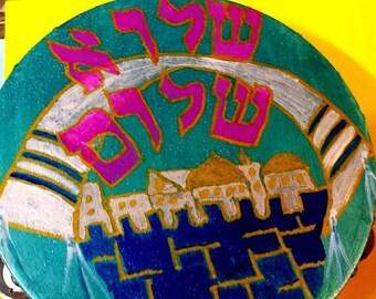 "Shalu Shalom Tallis -Jerusalem tambourine blues, purples, and golds. 10"" inch Hand painted"
