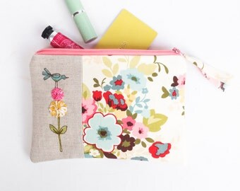 Unique Bridesmaid Gift, Women's Cosmetic Bag, Floral Makeup Bag in Pink and Blue, Zipper Pouch, Bridesmaid Thank You Gift MADE TO ORDER