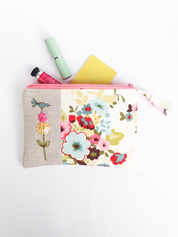 Unique Bridesmaid Gift, Womens Cosmetic Bag, Floral Makeup Bag in ...