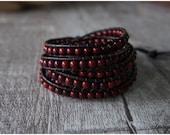 5 Wraps Bracelet China Yellow River Stone Bracelet Beaded Wrap Bracelet 10769