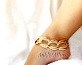 Statement Elegant Vintage Chain Anklet Large Link Gold Ankle Bracelet Adjustable Ankle Bracelet