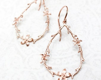 Twig and Flower Earrings Pink Gold Branch and Blossom Rose Gold Floral Hoops Bridal Jewelry Bridesmaids Gift Large Botanical Dangle Earrings
