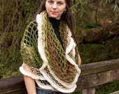 Lalet Scarf Shawl Tube Fur Netting Rainforest and Cream Green and Brown