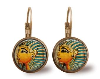 Glass Tile Earrings Pharoah Earrings Egyptian Jewelry Brass Earrings Brass Jewelry Egyptian Earrings Glass Tile Jewelry