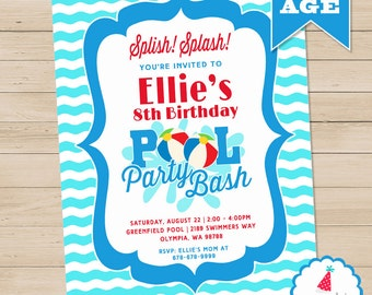 Pool Party Invitation | Pool Birthday Invitation Printable | Summer Birthday Invitation | Swimming Party Invitation | Amanda's Parties