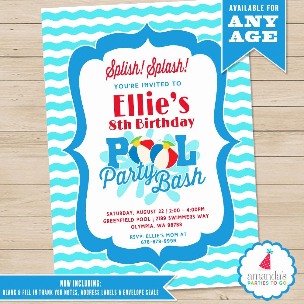Pool Party Invitation Pool Birthday Invitation Printable