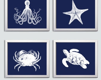 Nautical Nursery Art , Navy Nursery Art , Set of 4 Ocean Art Prints , Octopus Wall Art , Nursery Nautical Ocean Artwork , Navy Wall Art