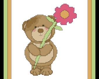 Cross Stitch Pattern of Bear with Flower - PDF File - Cute Cross Stitch, Bear Cross Stitch, Flower X Stitch, Counted Cross Stitch Pattern