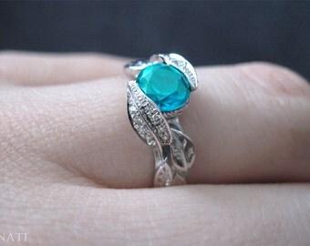 Blue Topaz Diamond Leaves Engagement Ring, Diamond Leaf Engagement Ring, Diamond Leaf Ring & Blue Topaz Gemstone, Natural Floral Leaves Ring