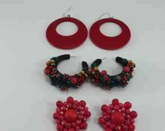 Vintage 80s Earrings Colorful Summer Beachy Funky Wooden Destash 3 Pairs
