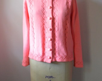 Vintage 1970s Pink Sweater Womens Cardigan Sweater Bright Neon Pink Acrylic Knit Sweater Size Medium to Large