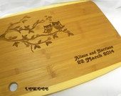 Cutting Board Wedding Anniversary Date Owl Tree Branch Personalized Engraved Custom Bamboo Kitchen Name Bride Bridesmaid Grandmother Kitchen