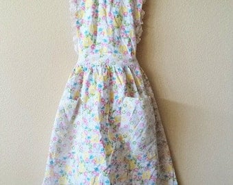 Vintage 40's- 50's Spring Apron One Size