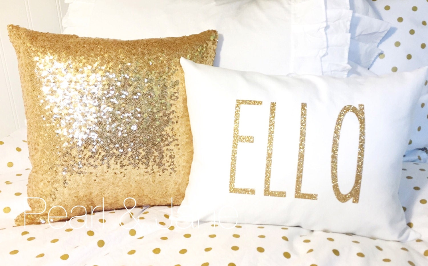 Sequin Decorative Throw Pillow With Insert Gold By