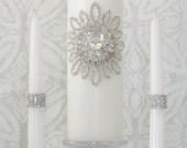 Wedding Unity Candle Set  Memorial Candle   Rhinestone Embellished   White or Ivory