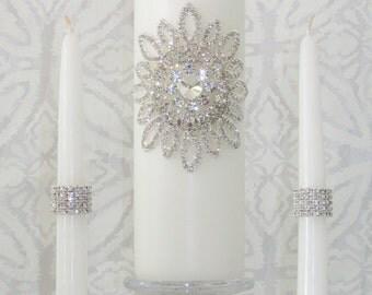 Wedding Unity Candle Set| Memorial Candle | Rhinestone Embellished | White or Ivory