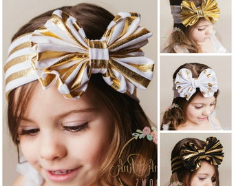 CLEARANCE Set Baby Headbands,CHOOSE COLOR Girls Head wraps,Messy Bow Baby Head wraps,Jersey Headwraps,Big Bow Baby Headbands,Knott Headband,