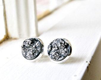 silver druzy earrings, druzy post earrings, stud earrings, rock earrings