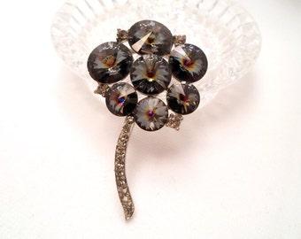 Grey Rivoli Rhinestone Flower Brooch Unsigned