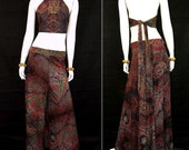 Awesomely Groovy 1960s Vintage Halter Top & Wide Legged Pant Set